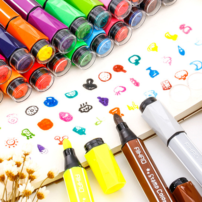 18/24 Colors with Cute Stamp Color Pen Watercolor Pen Art Highlighter Drawing Mark Pen Stationery Water Washing Graffiti Pen18/24 Colors with Cute Stamp Color Pen Watercolor Pen Art Highlighter Drawing Mark Pen Stationery Water Washing Graffiti Pen