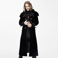 Дьявол Мода готический Для мужчин; Длинные куртки стимпанк осень 2017 г. Зимние черные сапоги красные толстые Пальто для будущих мам Повседне