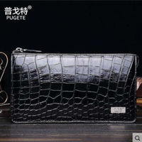 Pugete New Crocodile Leather Women Clutch Bag Carrying Man S Long Business Luxury Wallet Leather Zipper