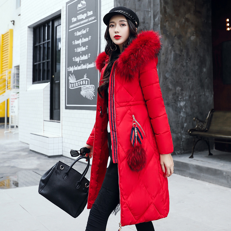 2017 Winter Long Jacket Coat Women Cotton Padded Parka Female Thicken Outwear Faux Fur Hooded Coat Womens Parka Plus Size M-3XL winter coat male thicken warm quilted jacket hooded long sleeve fleece cotton padded coat men parka snow coat outwear 3xl 4xl