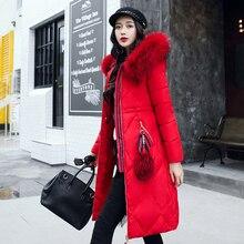 2017 Winter Long Jacket Coat Women Cotton Padded Parka Female Thicken Outwear Faux Fur Hooded Coat Womens Parka Plus Size M-3XL