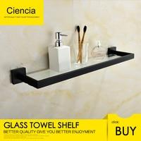 Free shipping SUS304 stainless steel seamless self adhesive black chrome glass towel shelf towel hanger bathroom accessory