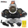 1*T6 2*R2 3x T6 LED 8000Lm Rechargeable Headlamp Headlight Head lamp + AU/EU/US Charger +CAR Charger