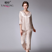 New Women Silk Satin Pajamas Pyjama Sets Lace Sexy Robes Bathrobes Longue Femme 2 Pcs Pijamas
