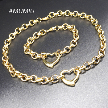 AMUMIU Heart Women Casual Jewelry Set Circle Link Chain Gold color fashion 2017 stainless steel Jewellery HZTZ103