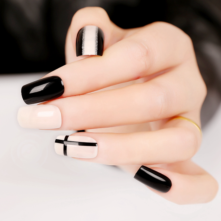 foreverlily 24pcs Cross and Line False Nails Black White Long Square Full Artificial Design Nail Tips with 1pc Glue Sticker
