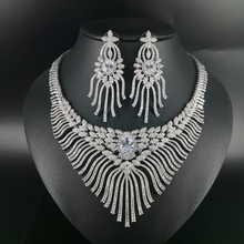 2019 NEW Luxury fashion popular crystal flower white golden necklace earrings sets bride wedding formal dress banquet  jewelry цена