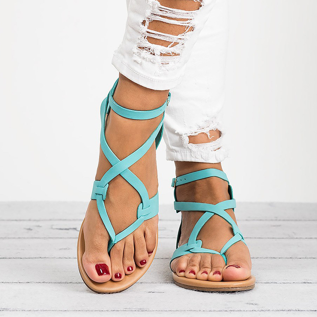 Women Sandals Soft Bottom Flat Sandals Pu Leather Summer Shoes Women Casual Gladiator Sandals Plus Size 43 Beach Shoes Female