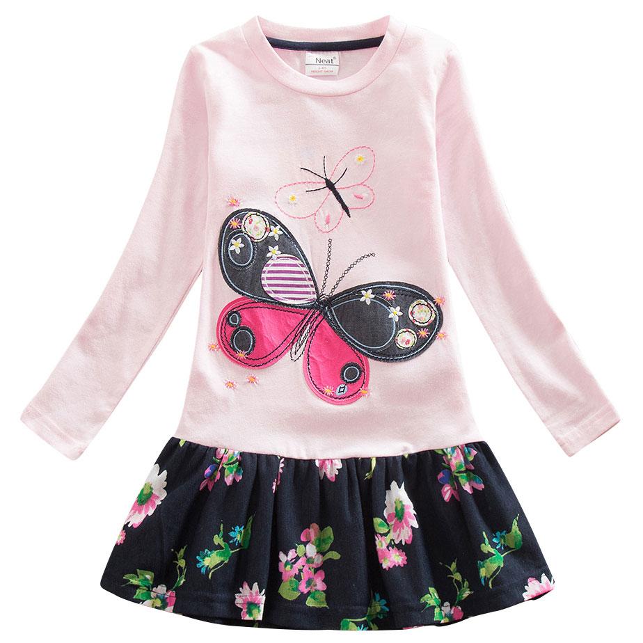 children fashion girls clothes 2017 autumn cartoon flower butterfly dress girl dress kids clothes long sleeve dress for girls