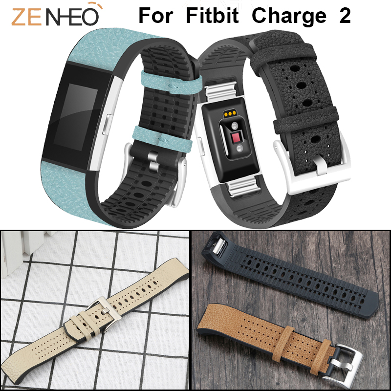 for fitbit charge 2 watch strap TPU leather watch band Breathable Wristband Replacement for charge 2 Watches straps watchband in Watchbands from Watches