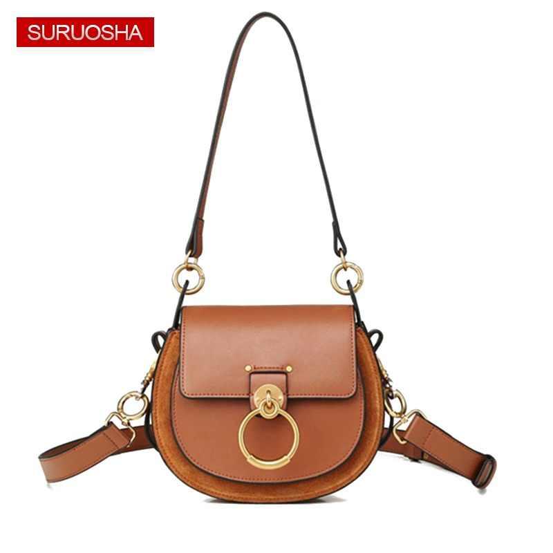 b1b8dc83c05e Genuine Leather Fashion Lady Leather Bag Women Saddle Bag Small Shoulder  Bags Metal Ring Buckle Bag