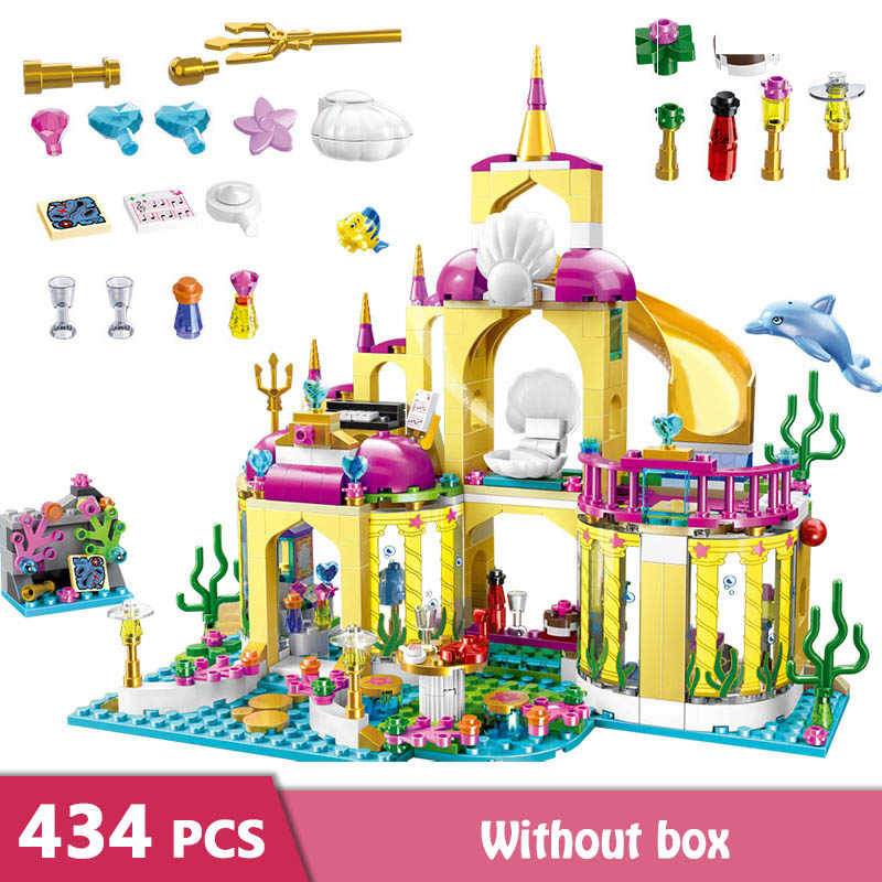 434pcs Building Blocks Princess Undersea Palace Castle Stacking Blocks Figure Bricks Girls Friends Kids Toys GB06