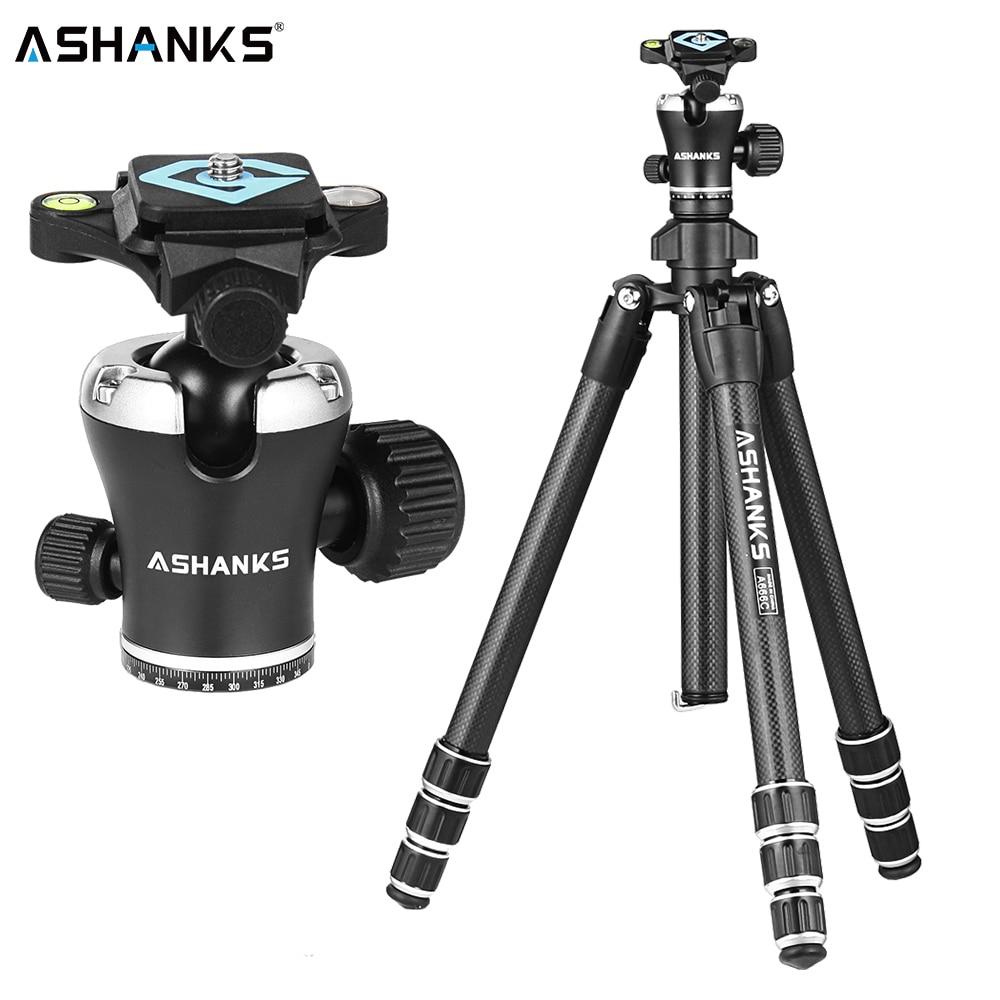 ASHANKS A666C Carbon Camera Tripod 8KG 55.1''/140cm Professional Video Tripod wi