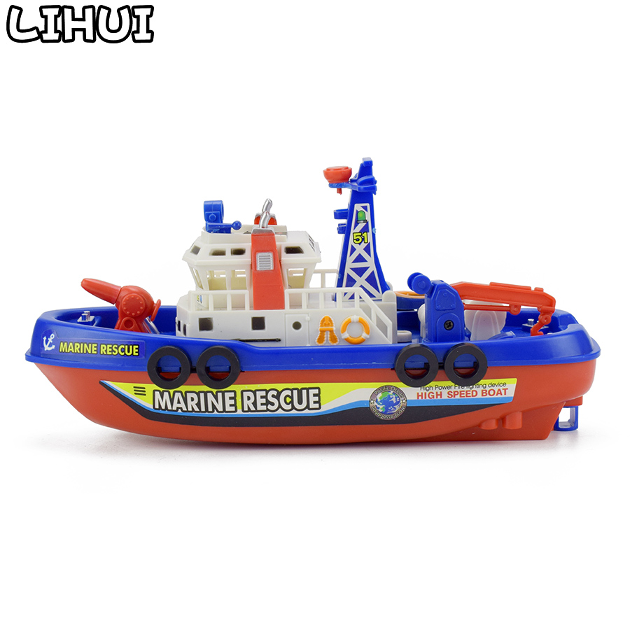 Electric Fire Boat Model Toy Simulation Marine Rescue For Boy Toys Spray Water LED Lights Sounds Toy For Children Gift