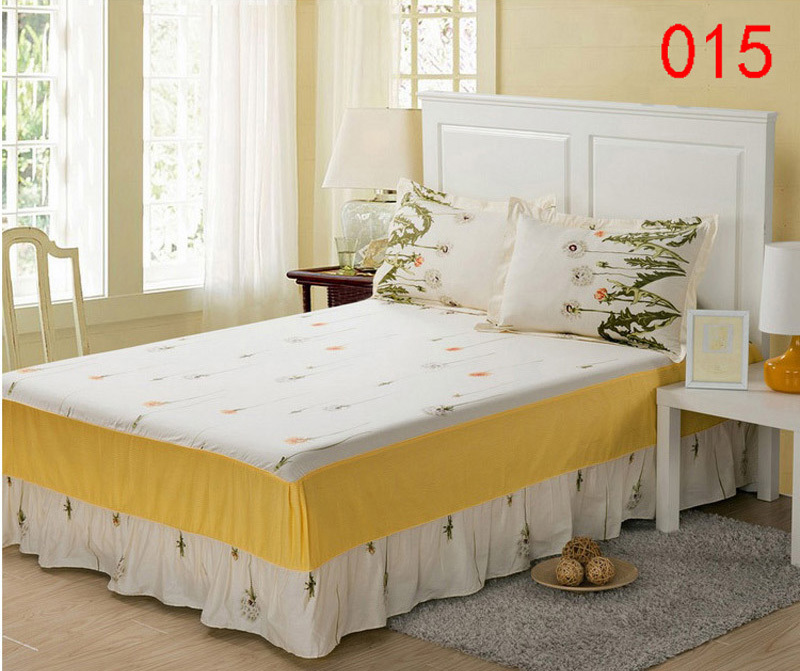 Blue Yellow Red 1pc Cotton Bed Skirt Mattress Protective Cover