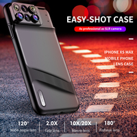 ROCK Phone Lens Kit for iPhone XS Max PC+TPU Back Cover Case Telephoto Fish Eye Macro Wide Angle Lens Camera Lens Case