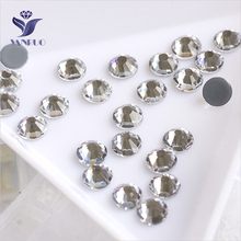 YANRUO 2058HF SS20 Crystal Clear 1440Pcs Iron On Hotfix Stones And Crystals Flat Back Strass DIY Rhinestones For Craft yanruo 2058hf ss20 hyacinth 1440pcs glass strass flat back stones and crystals hot fix rhinestones for shoes accessories