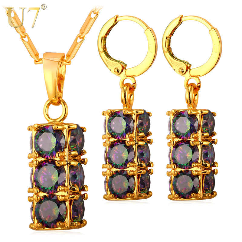 U7 Crystal Drop Earrings And Pendant Necklace Set Silver/Gold Color Luxury Wedding Party Cylindrical Jewelry Set For Women S820