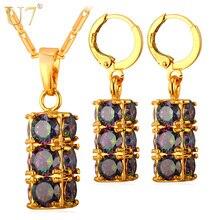 U7 cilíndrica de cristal de lujo conjunto de joyas para las mujeres chapado en oro gota partido de los pendientes y colgante del collar de la joyería afortunada s820