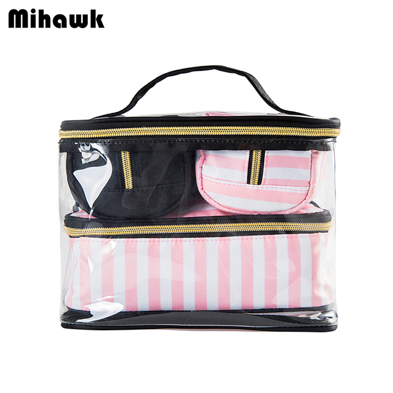 Mihawk 4Pcs PVC Cosmetic Bags Lady's Portable Makeup Tools Organizer Case Toiletry Pouch Beauty Travel Bag Accessories Supplies mihawk color transparent pvc cosmetic bag korean style markup bags travel multifunctional accessories women s wash accessories