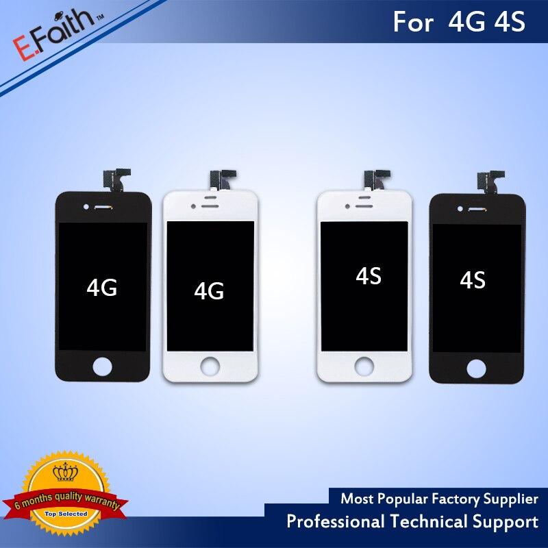 imágenes para 20 unids/lote Grado A + + + No Pixel Muerto 4S LCD pantalla Táctil Digitalizador Asamblea del LCD Para el iphone y El Envío DHL