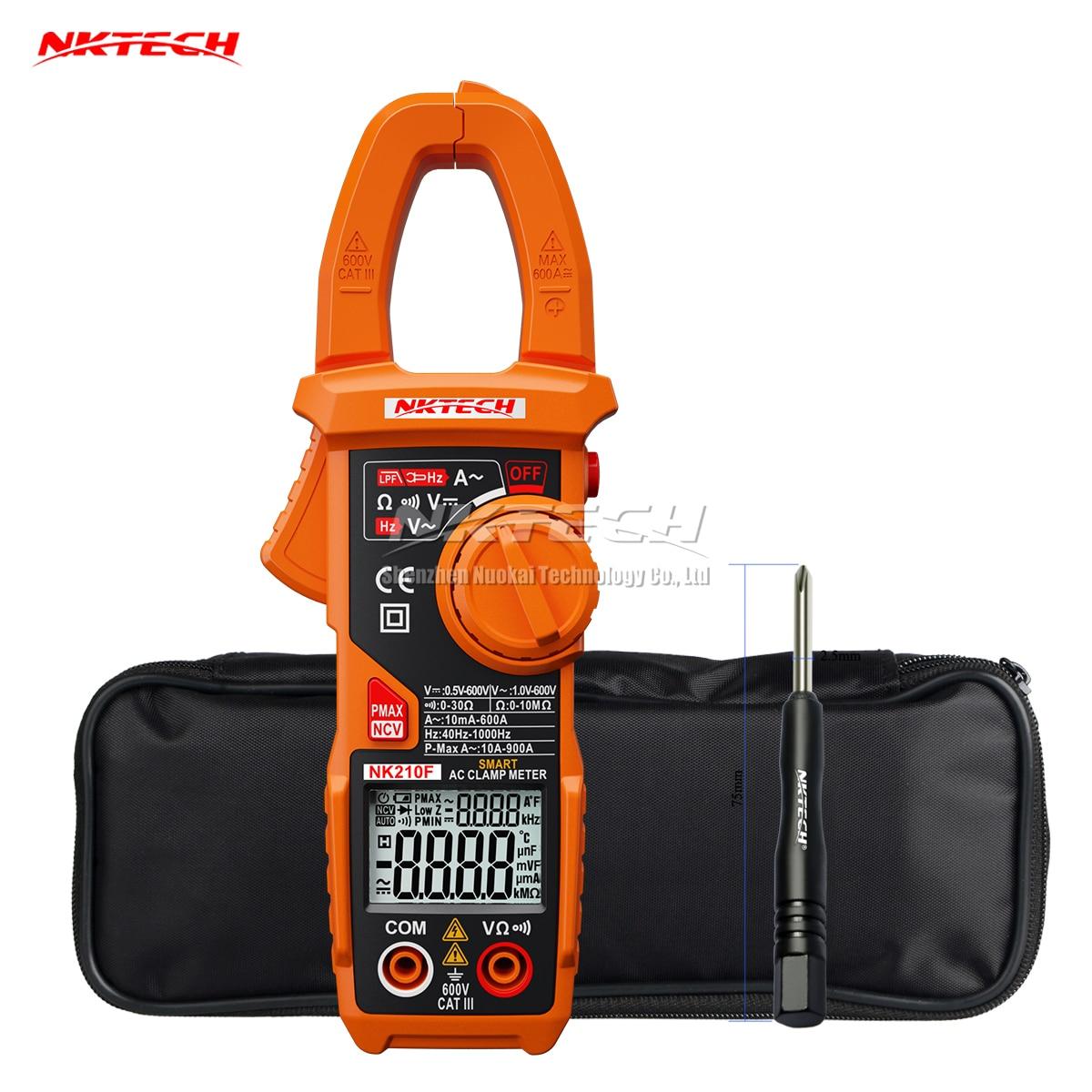 NKTECH NK210F Pince Multimètre Numérique Auto Range AC DC Tension AC Courant Résistance Fréquence 6000 Points Auto Scan LCD Double affichage