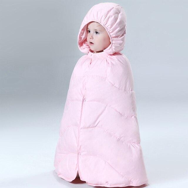 Детские snowsuit новый младенческой мальчики девочки снег носить с капюшоном утолщение ветрозащитный плащ тепловой белая утка вниз новорожденного зимой мыс