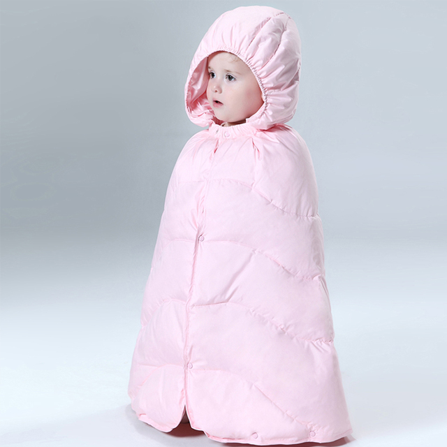 Baby snowsuit new infant boys girls snow wear hooded thickening windproof cloak thermal white duck down newborn winter cape