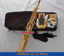 Gold Lacquer Soprano Saxophone Bb key to High F key and G Key-2 Neckes