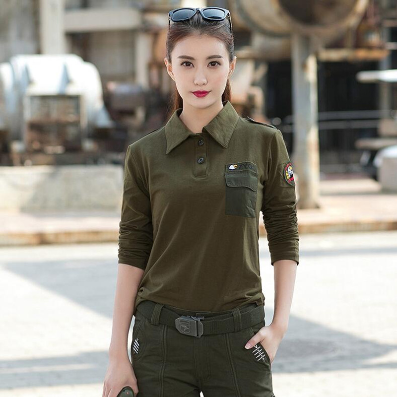 Women Camouflage Long Sleeve T shirt Military Tactical Camo Tee Shirts S port T shirt