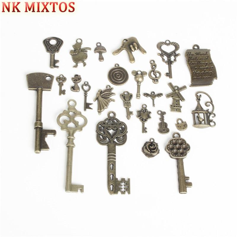 NK MIXTOS 25Pcs / Set Punk Steampunk Mixed Key Pendant Charm Necklace Jewelry Making Accessories DIY Decoration Tool Parts 4 pcs mixed needle round nose pliers tool kit jewelry making tool