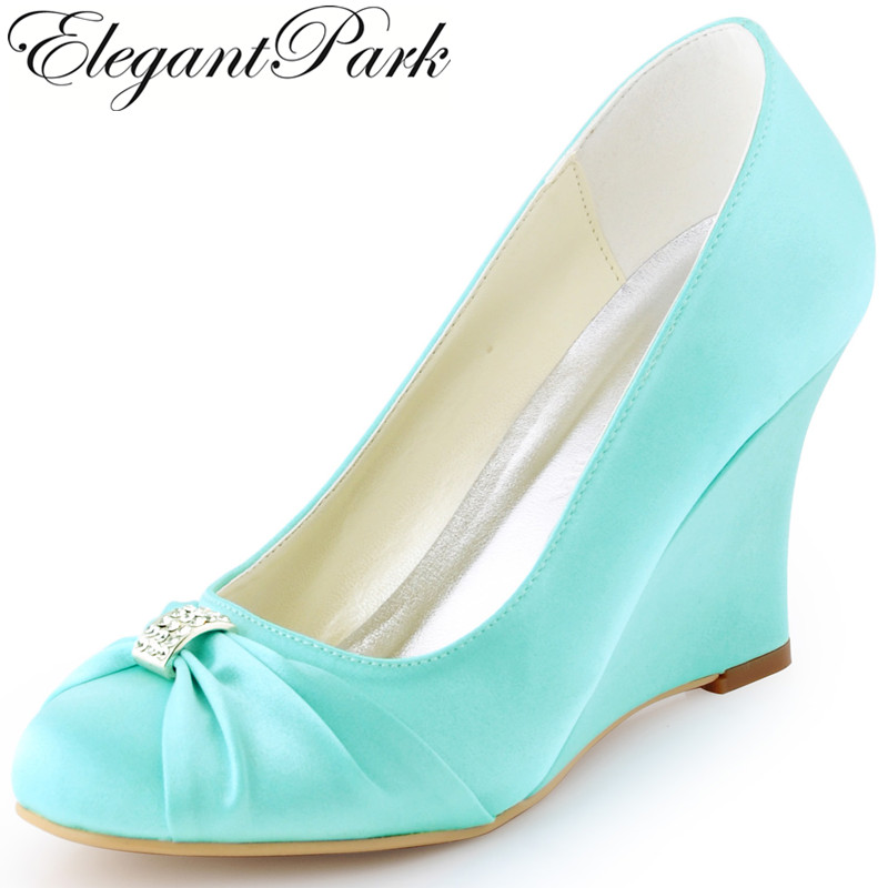 Women Wedding Wedges High Heel Bridal Shoes Rhinestone Closed Satin Lady Bride Bridesmaid Party Dress Pumps EP2005 Pink Mint Red women wedges high heel wedding bridal shoes navy blue rhinestone closed toe satin bride lady prom party pumps ep2005 teal white