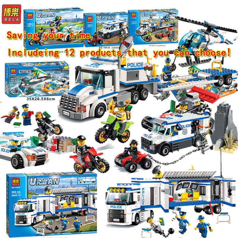 цена на Bela Building Blocks Compatible Legoe city police Helicopter Plane Truck Armored Car Motorcycle Cars Pursuit Of Prison Brick Toy