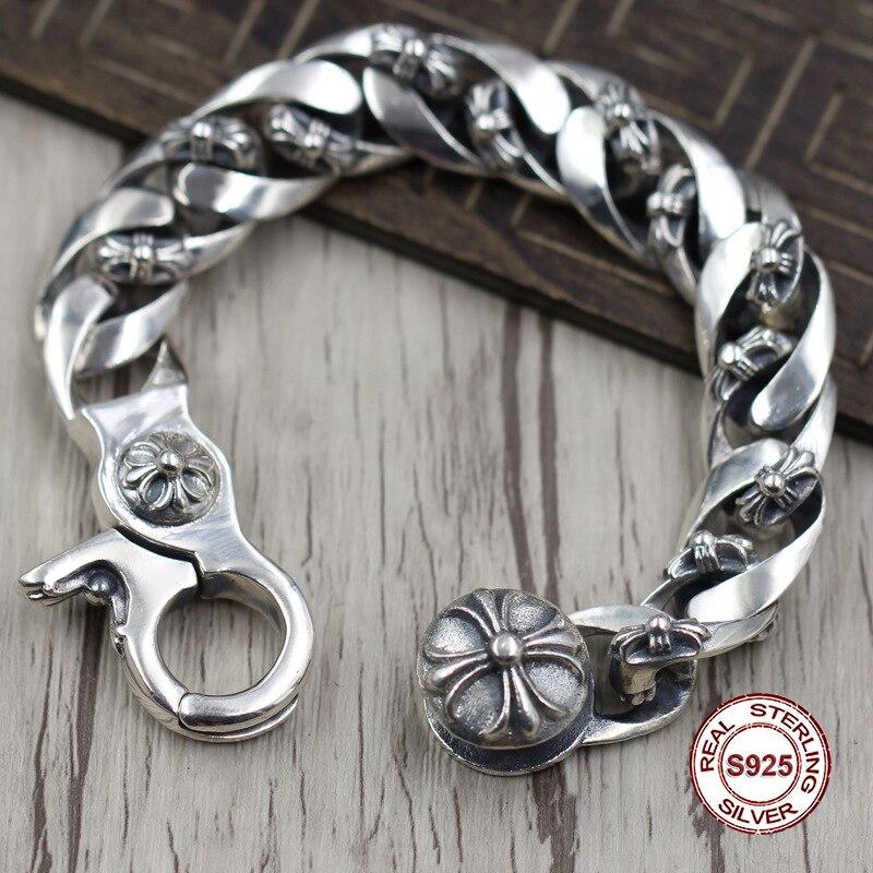 S925 Hommes de bracelet en Argent Sterling Personnalité tendance croix dominateur modélisation Punk style rétro classique Envoyer un cadeau à amour