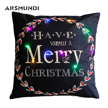 Creative Shining LED Christmas Pillow Cover Silk Flax Case White Black Leopard Decorative Covers Merry