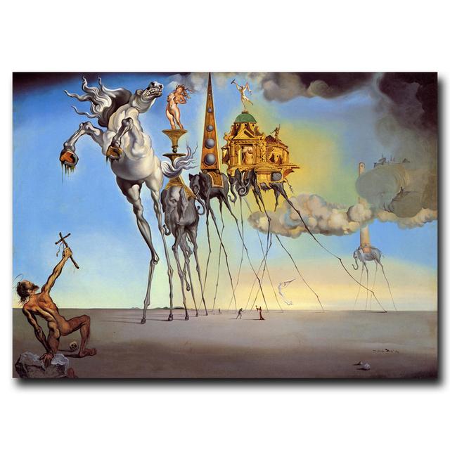 Salvador Dali Fantasy Skull War Clocks Surreal Art Painting Silk Poster 12×18 16×24 20×30 24×36 Inch