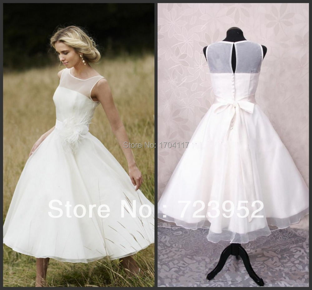 Hot sale bateau neck see through top organza simple ankle for Simple ankle length wedding dresses
