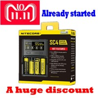 NITECORE SC2 SC4 Intelligent Battery Charger USB Output 3A for LiFePO4 Lithium Ion Ni MH NiCd 18650 10340 10350 10440 10500
