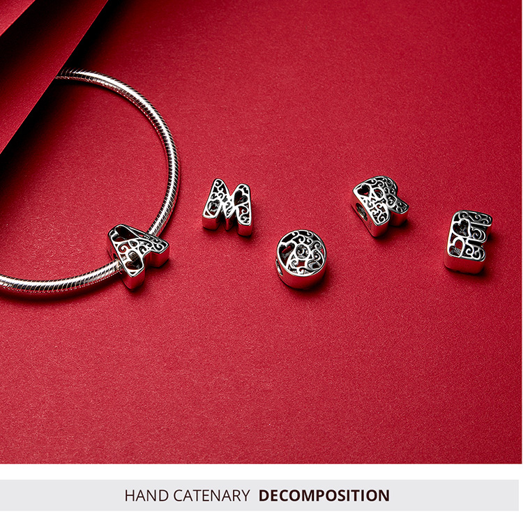 Funny Bubble Letter Alphabet Beads Sterling Silver Charm