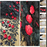 Free Shipping 5yards Pc Attractive 3D Flowers Appliqued French Net Lace Fabric African Tulle Lace Fabric