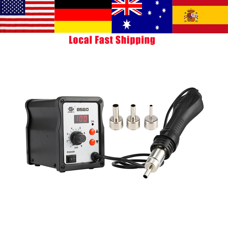 858D Hot Air Gun Kit Rework Station Air Gun + 3Nozzles Electric Soldering Desoldering Tools Rework SMD Station Heat Gun Hot Sale