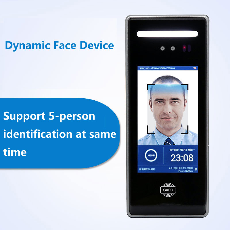 Dynamic living body Face Time Attendance fast recognition max 5 people meanwhile 1000 faces capacity support RFID IC card TCP/IP