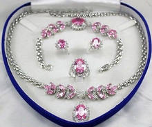 Bridal Jewellery Women's Set Pink Crystal Necklace Earring Bracelet Ring +(box) 5.23(China)
