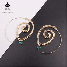 BGG Bohemia Ethnic Personality Hollow Out Spiral hoop Earrings Women Round Spiral Gold Color Circle Leaves Piercing Earring(China)