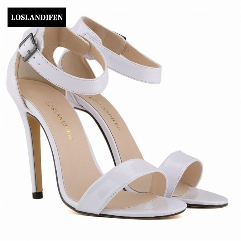 2017 European Summer Sexy Patent Leather High Thin Heels Sandals Open Toe Woman Women Shoes Footwear Zapatos Mujer summer new brand patent leather cachottiere 100mm women sandals fretwork peep toe high heels shoes woman pumps zapatos mujer