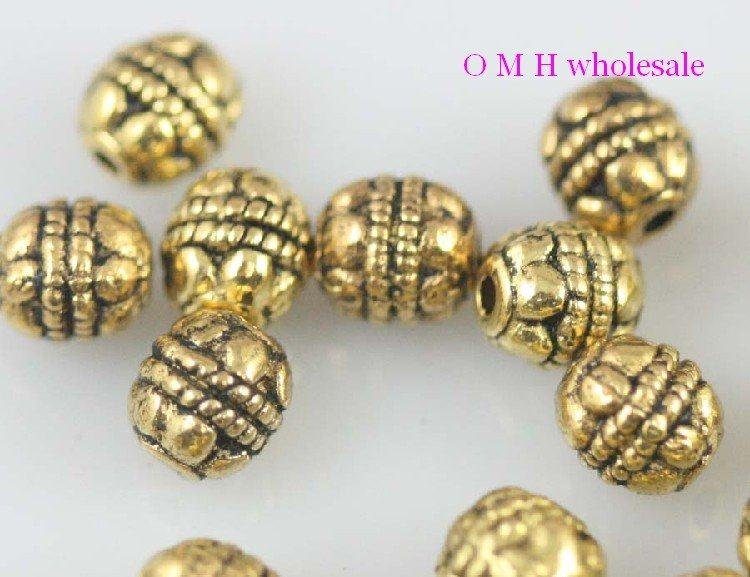 OMH Wholesale Free Ship 30pcs Golden Spacer Beads Jewelry Metal Beads 6mm ZL506