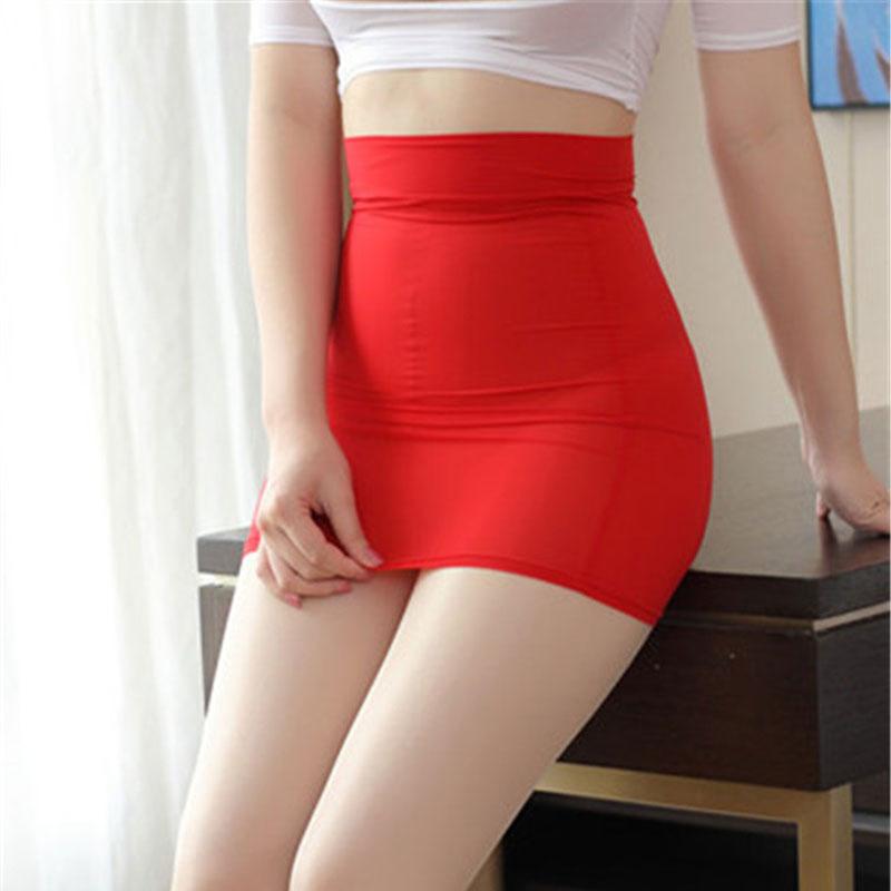 High Cut Tight Pencil Cute Skirt Ice Silk Smooth See Through Micro Mini Skirt Transparent Night Club Skirt High Waist F7