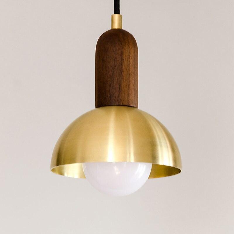 Messing Indoor LED Hanglamp Half Ronde Bal Shade Houten Verlichting Armatuur E27