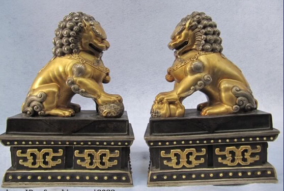 Xd 003284 Royal Palace Pure Bronze 24K Gold Gild Bei Jing Evil Fu Foo Dog Beast Lion Pair