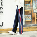 new 2017 striped velvet pants plus size casual trousers for women elastic waist wide leg pants loose casual women's trousers p45